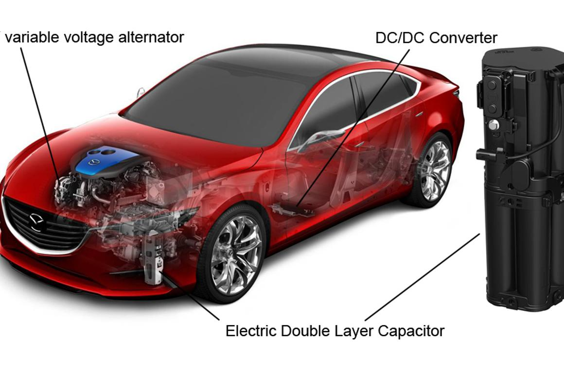 Mazda claims its new i-ELOOP system is the first passenger vehicle regenerative braking system to use a capacitor instead of a battery