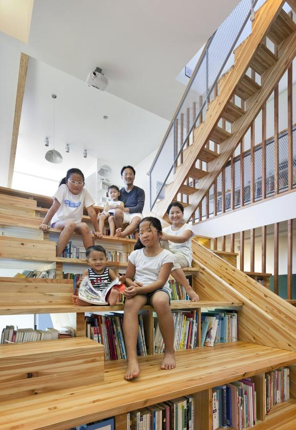 The staircase of Panorama House in South Korea acts as the central hub for the whole family