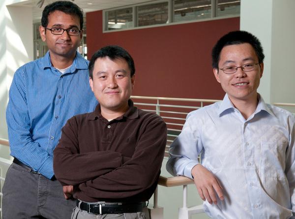 Graduate student Aaswath Raman, Associate Professor Shanhui Fan, and post doctoral fellow Zongfu Yu (Image: L.A. Cicero)