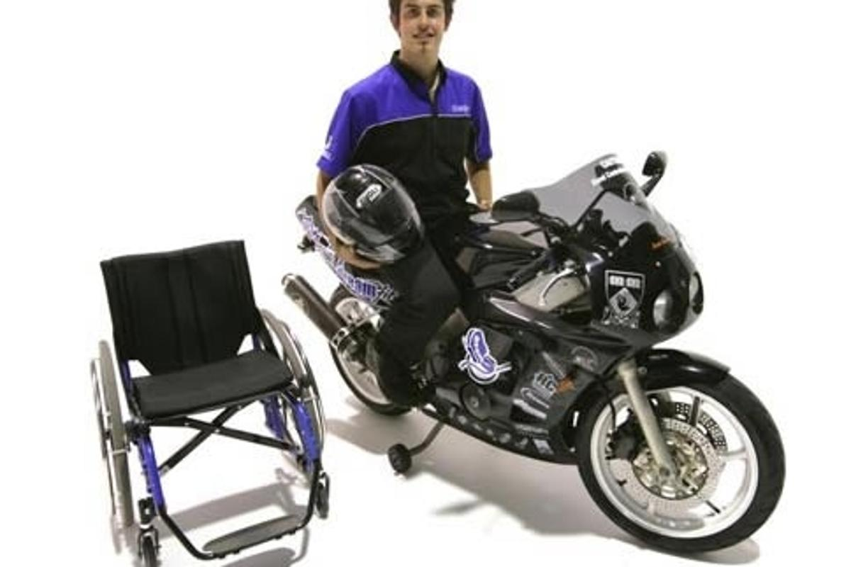 Darren Lomman aboard his prototype Dreamfit motorcycle for paraplegics.