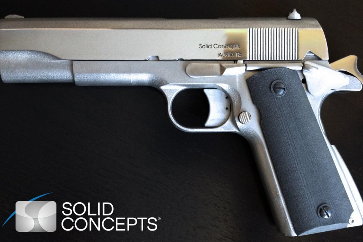 The fully assembled 3D-printed Model 1911 45ACP (Image: Solid Concepts)