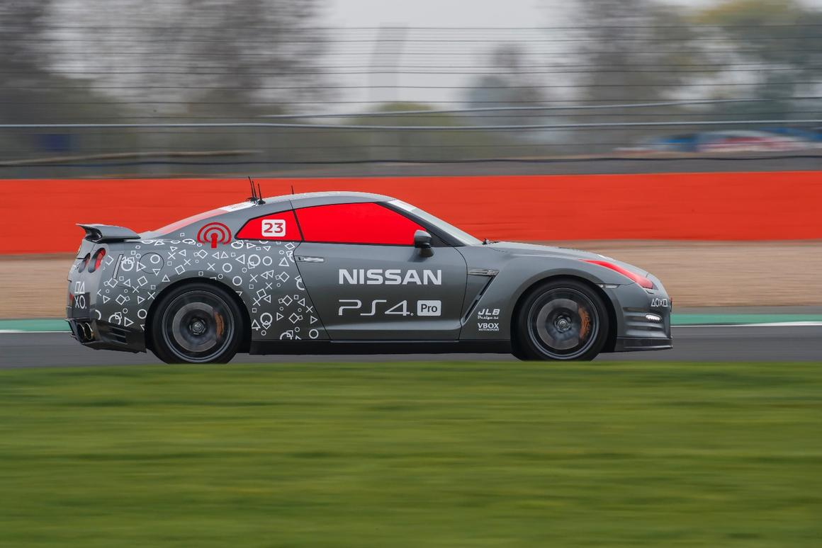 The remotely-piloted GT-R /C does a hot lap at Silverstone