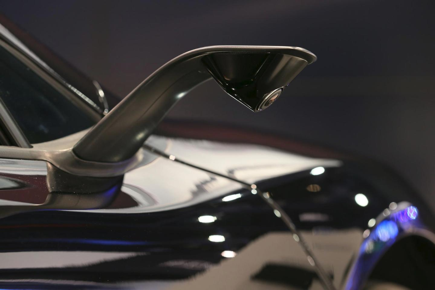 The aerodynamic wing mirrors have been replaced with thin, low-drag cameras