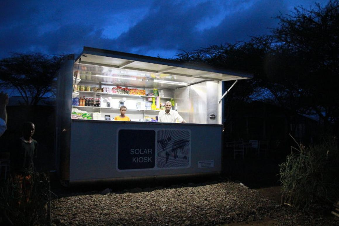 "The portable SolarKiosk is an ""autonomous business unit"" that sells energy, products, tools and services"