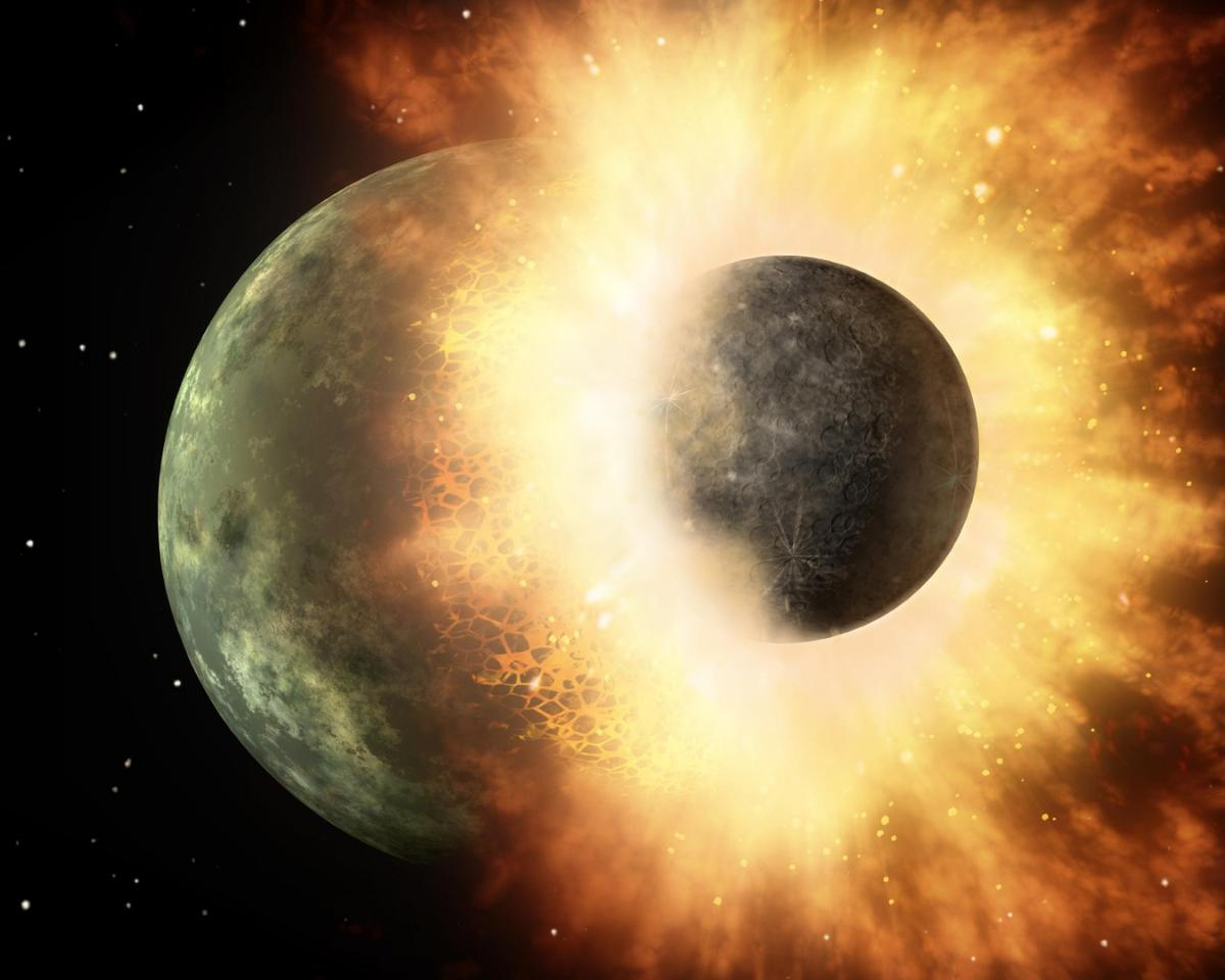 An illustration of a collision between two huge celestial bodies, similar to that now theorized to have given the Moon its asymmetrical face