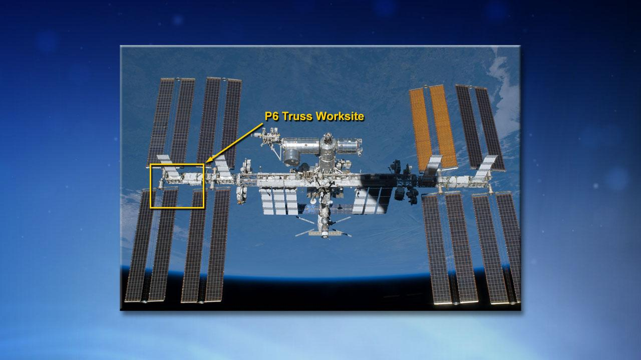 The ISS ammonia coolant leak is located on the P6 truss structure