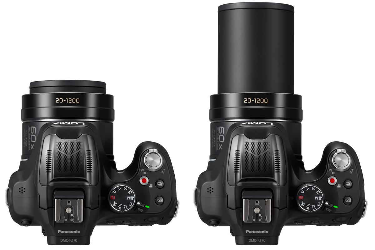 The Panasonic Lumix DMC-FZ70 boasts a 60x zoom lens with a 35-mm format focal length equivalent of around 20-1,200-mm