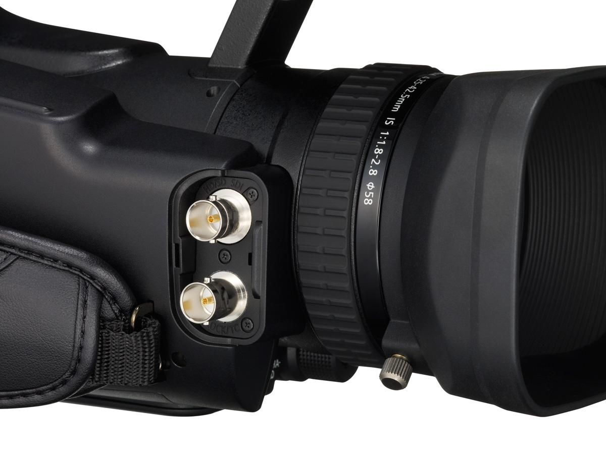 The Canon XF105 camcorder ports