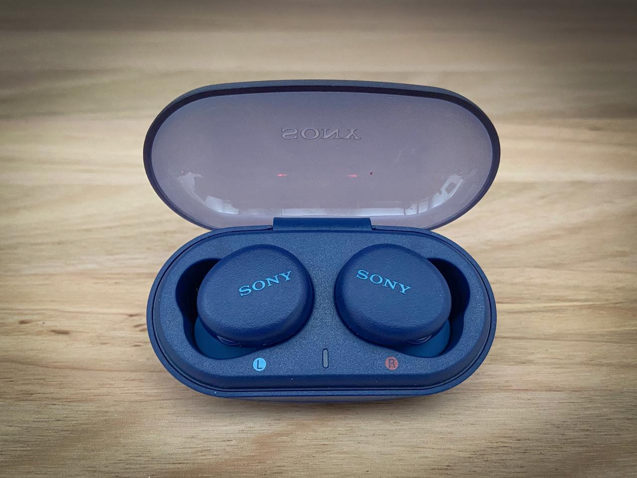 The earbuds sit snugly in the solidly built charging case