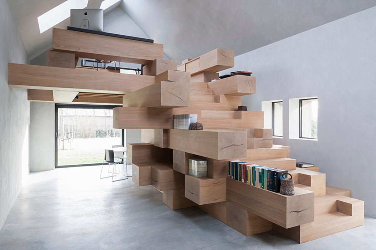 """""""The stacked beams become library, bookshelves, storage and resting and reading corners,"""" says Studio Farris Architects"""