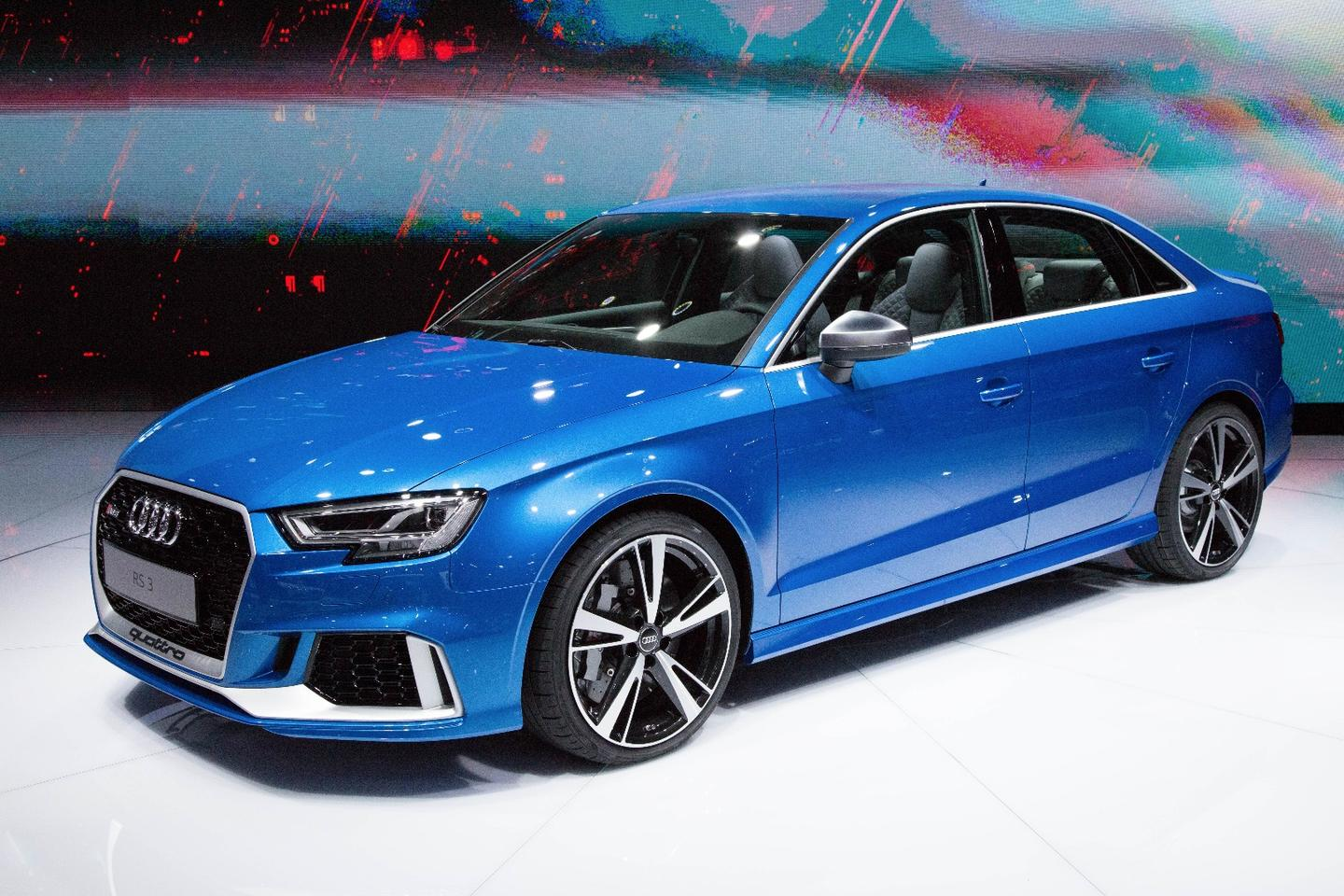 The Audi RS3 sedan sports a 394 hp five-cylinder turbo engine