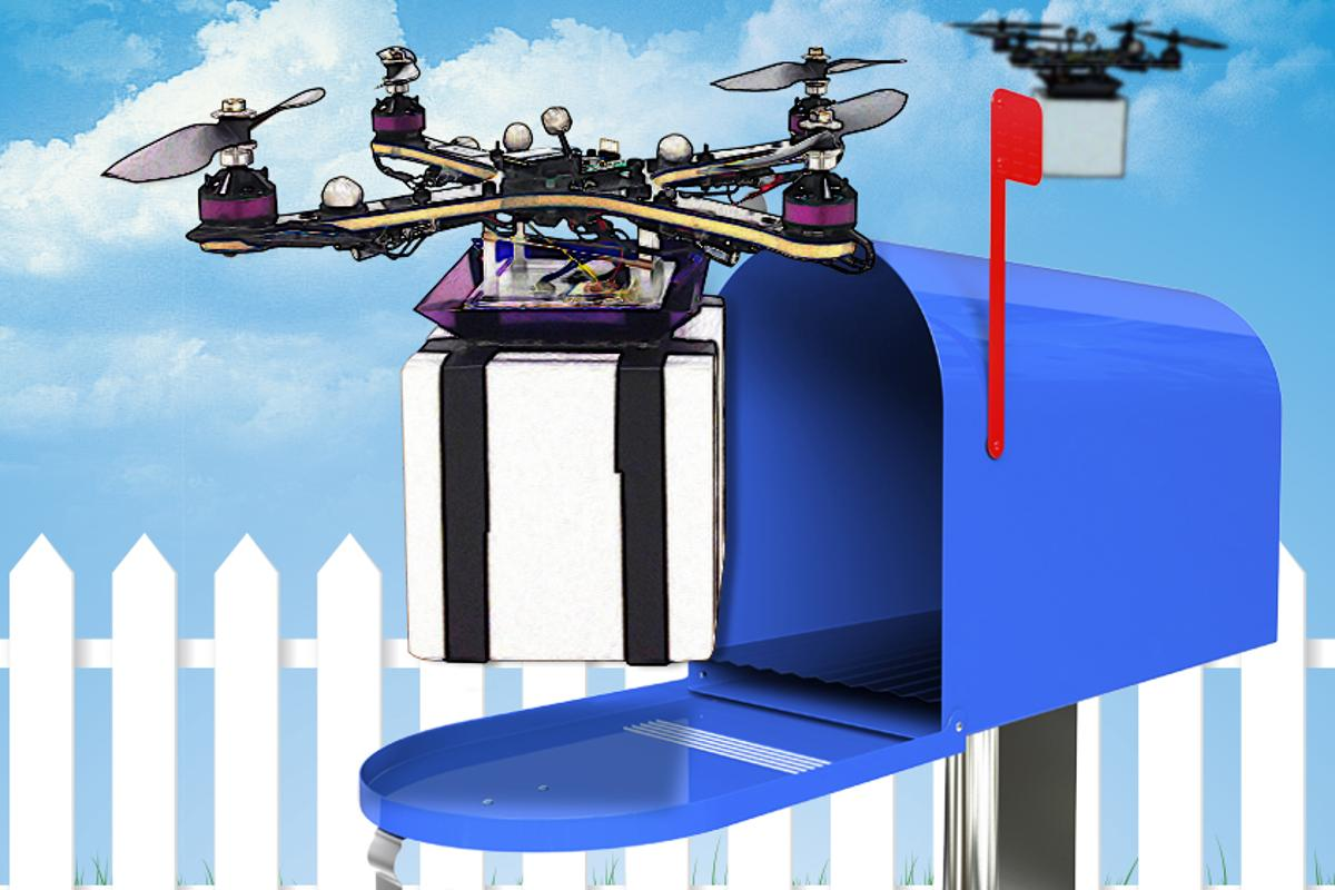 A new algorithm developed at MIT enables delivery drones to better preserve their health in real time (Illustration: Christine Daniloff/MIT (photograph of quadrotor courtesy of the researchers))