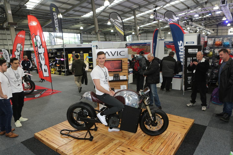 Dennis Savic aboard his prototype Savic electric motorcycle