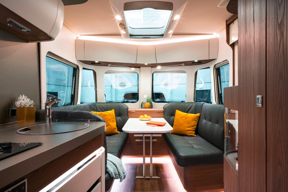 Inside the Touring 820, Eriba blends dark and light materials, finishes and trim