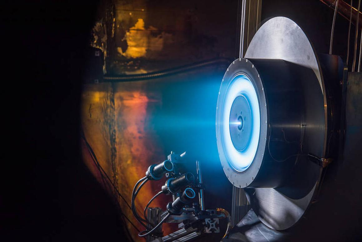 A Hall ion thruster, similar to the one under development by Aerospace Rocketdyne