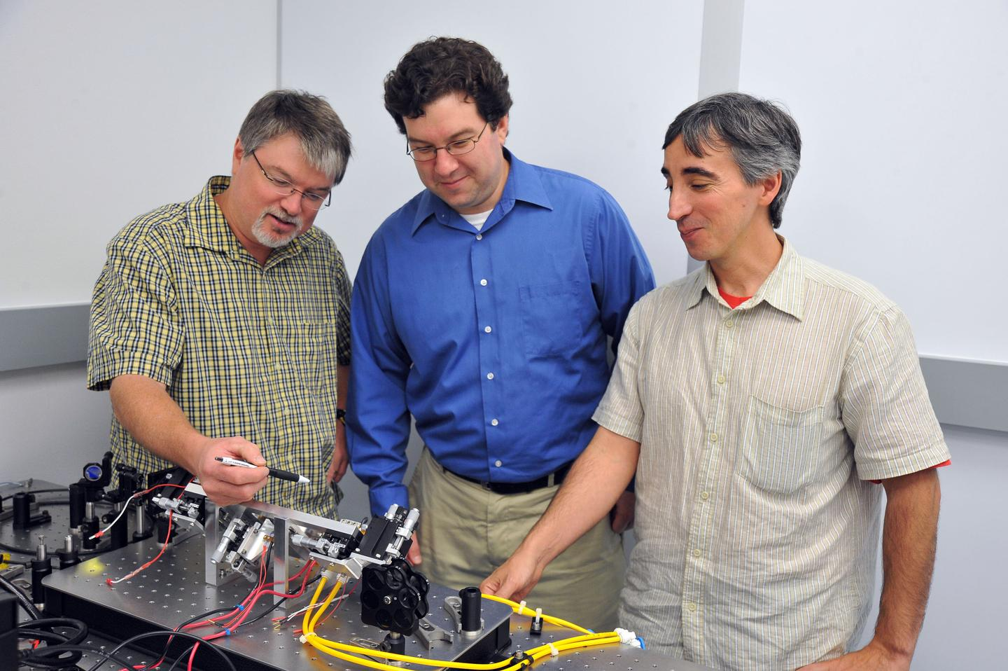 Goddard Space Flight Center's Barry Coyle, Paul Stysley, and Demetrios Poulios (L to R) have won NASA funding to study advanced technologies for collecting extraterrestrial particle samples (Image: NASA's Goddard Space Flight Center, Debora McCallum)