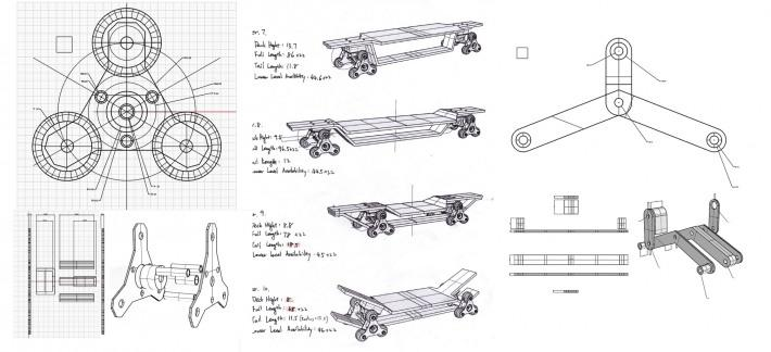 Design sketches for an earlier version of the STAIR ROVER