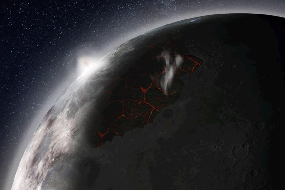 An artist's impression of the Moon as it may have looked in the distant past with an atmosphere, created by volcanic activity in the Imbrium basin