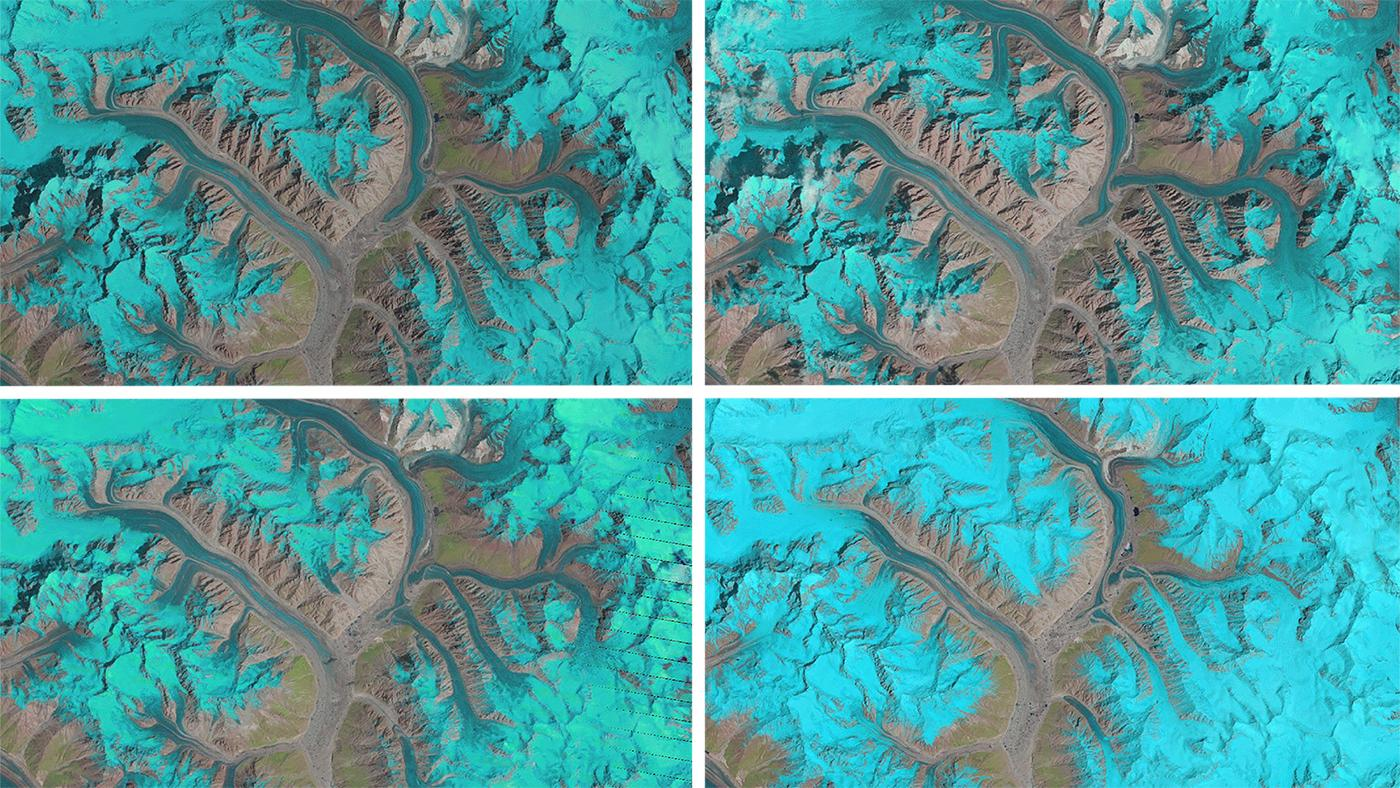 The above image shows stills from the animation focused on the Panmah and Choktoi glaciers