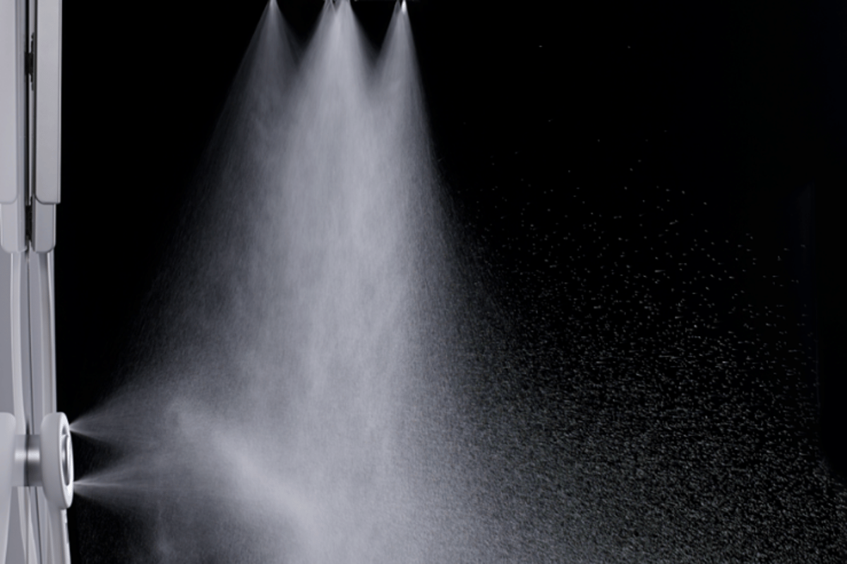 Rather than pushing out large water droplets like a standard shower head, the Nebia Shower atomizes the water into tiny droplets