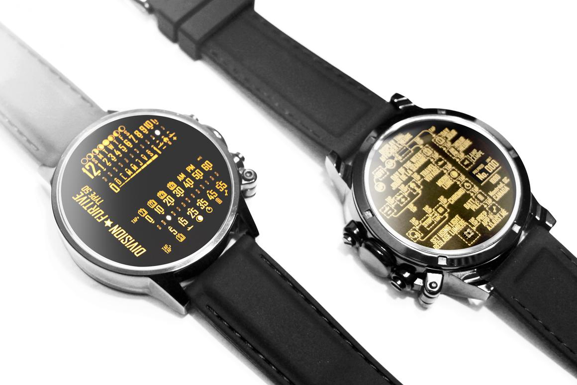 The Type 50 displays the time on the front and instructions for use on the back