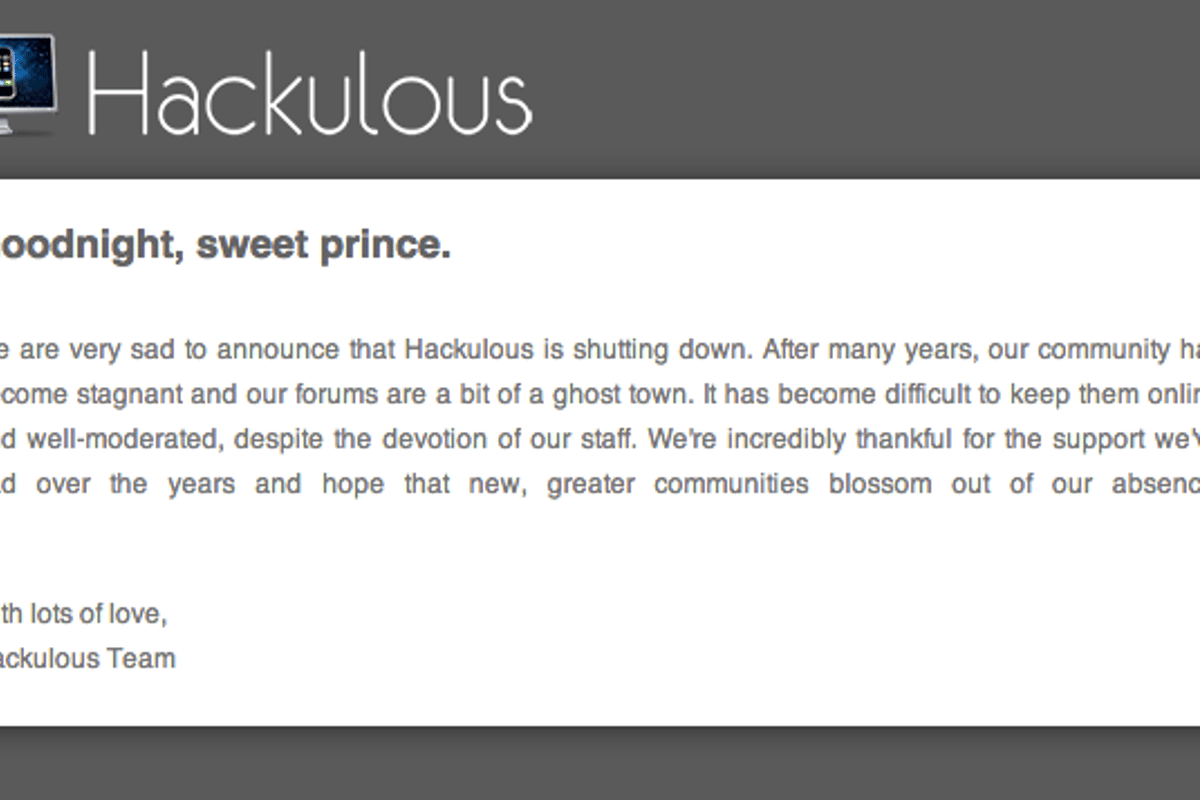 Hackulous has an official statement on its website about the closure