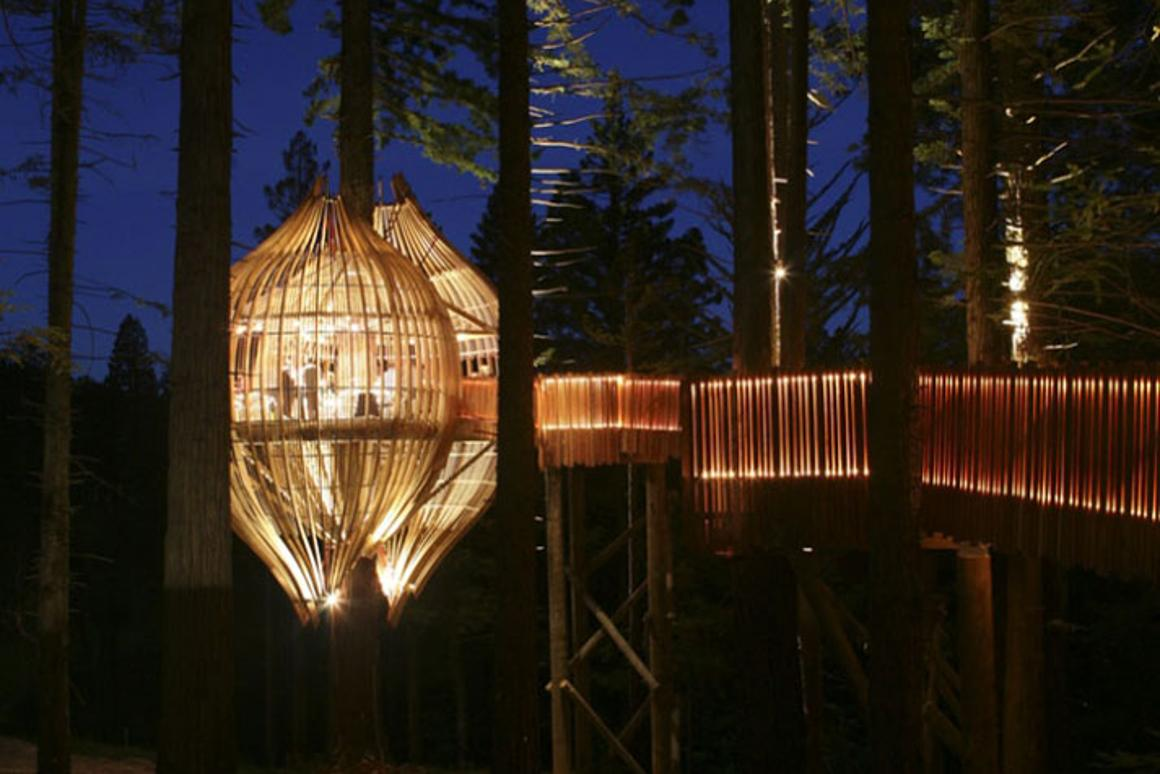 The Redwoods Treehouse in New Zealand offers a unique tree-top location for dinner parties and private functions