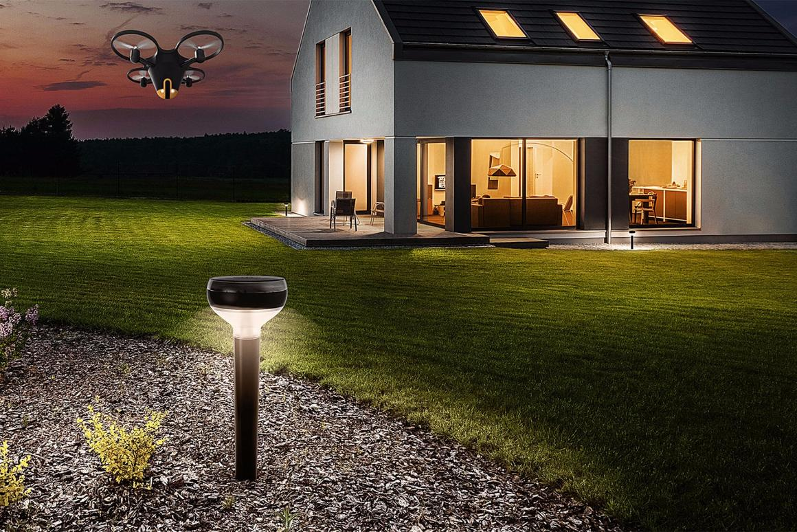 The Sunflower Home Awareness System includes a camera drone and smart lights