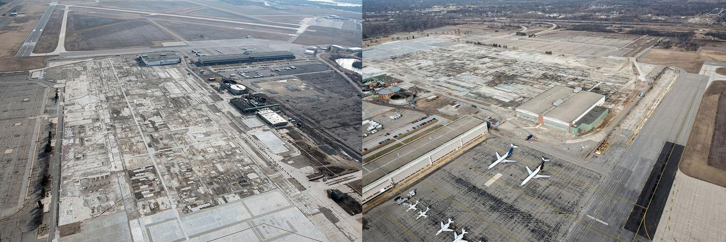 Aerial shots of the site as it looks today