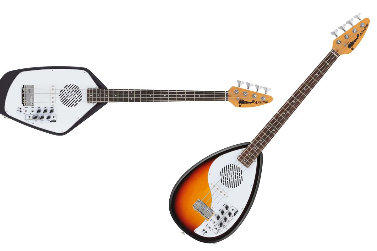 VOX Amplification releases Teardrop and Phantom bass guitar versions of its Apache Series travel guitars next month