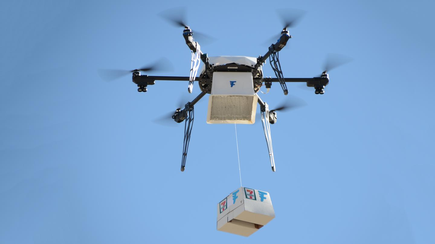 A chicken sandwich, donuts, hot coffee, Slurpees and candy were packed into a purpose-built container and carried autonomously by a Flirtey drone