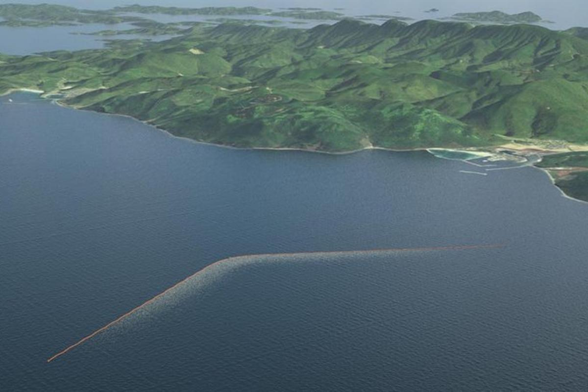 The 2,000 m (6,600 ft) Ocean Cleanup system will be deployed off the coast of Tsushima island in the Korea Strait