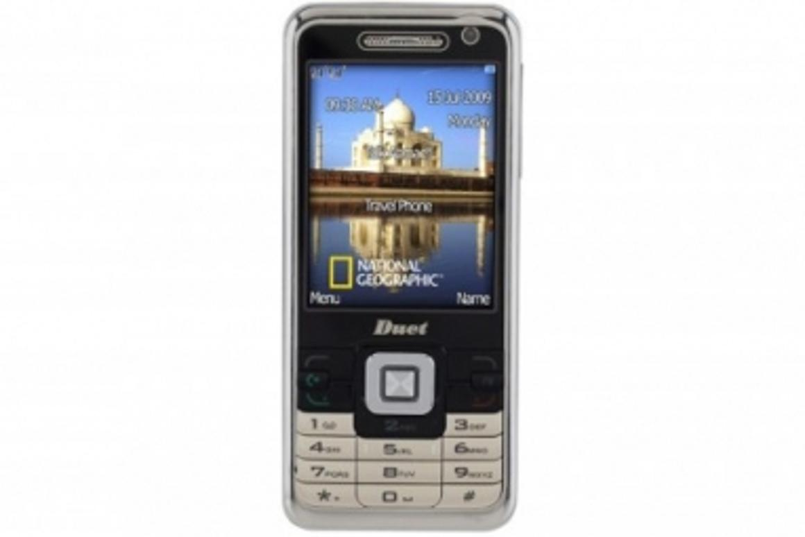 National Geographic dual SIM card mobile enables two numbers in one phone.