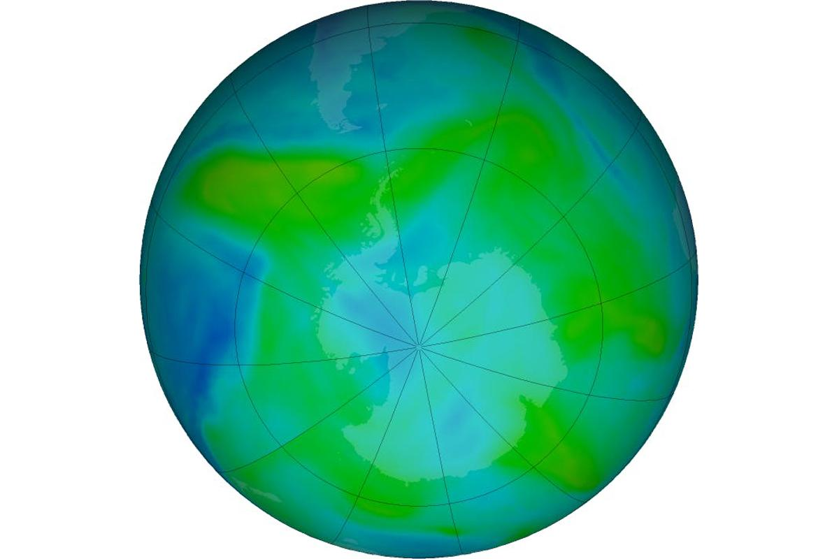 """The ozone """"hole""""areaabove Antarctica, as of February 3rd 2018. The green and blue hues indicate between 200-300 Dobson units, or total ozone"""