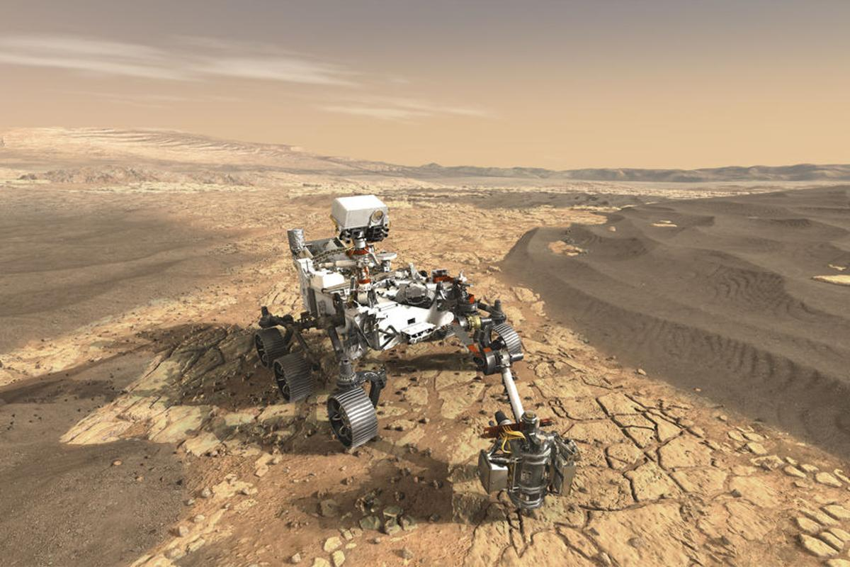 Artist's concept of the Perseverance rover on Mars