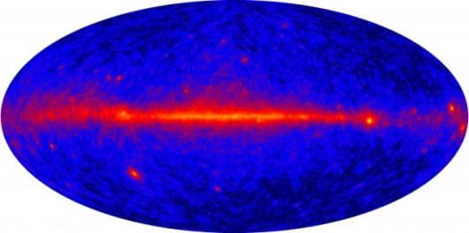 "The all-sky image combines 95 hours of ""first light"" observations from the Large Area Telescope, which is 30 times more sensitive than any previous space-based gamma-ray instrument."