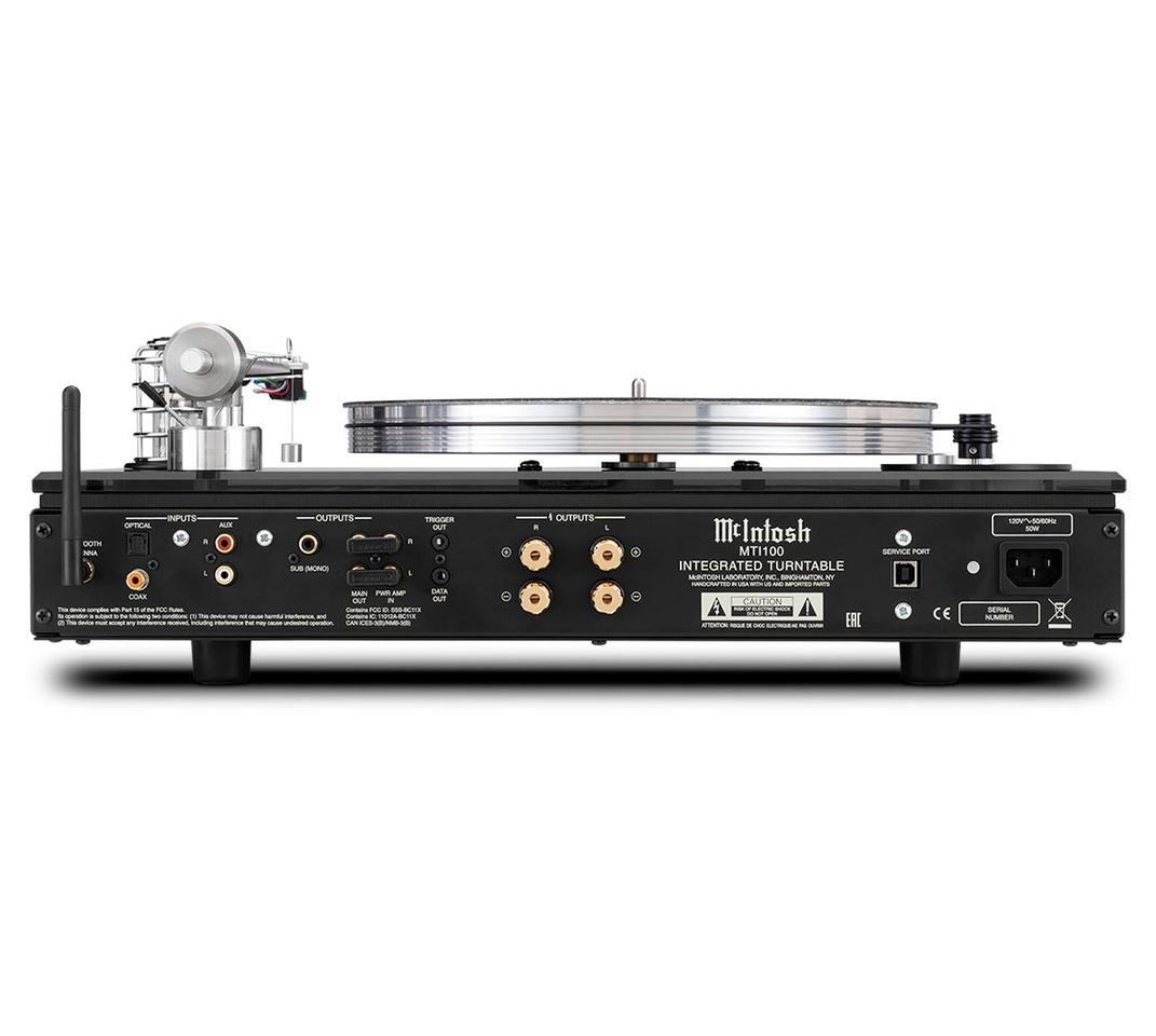 The belt-drive MTI100 integrated turntable has analog and digital inputs, speaker and subwoofer outputs, and a Bluetooth receiver to stream music to the system from a smartphone