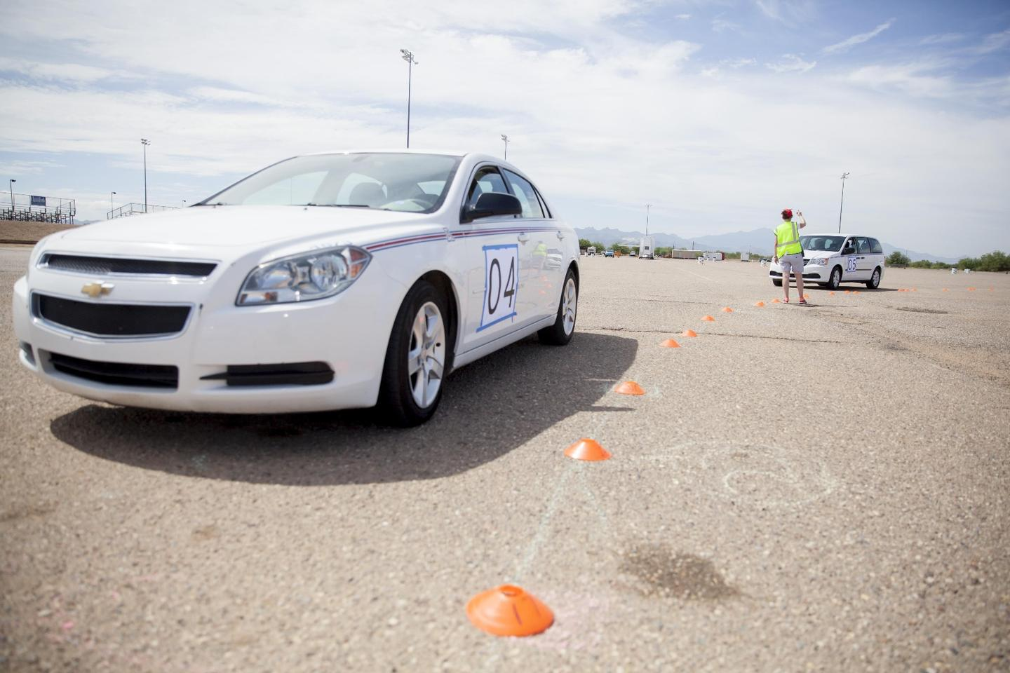 The self-drive car was tested with 20 human-driven cars on a circular track
