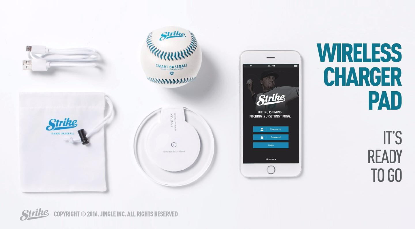 The Strike smart baseball, with its wireless charging pad and app