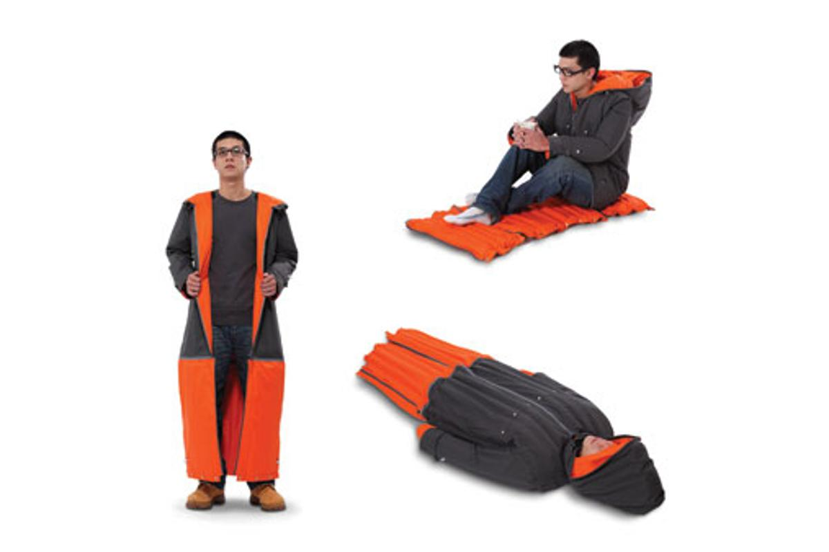 The Inflatable Sleeping Coat will keep you dry and warm during the day and provide you with a sleeping bag and mattress at night