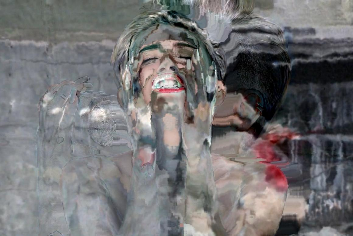 Datamoshing like a wrecking ball - a video still from Matt Caron's Miley Cyrus datamosh