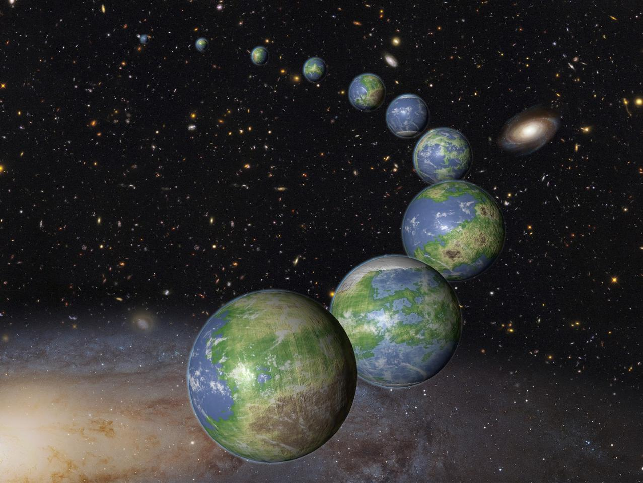 Artist's impression of some of the Earth-like worlds yet to come into creation
