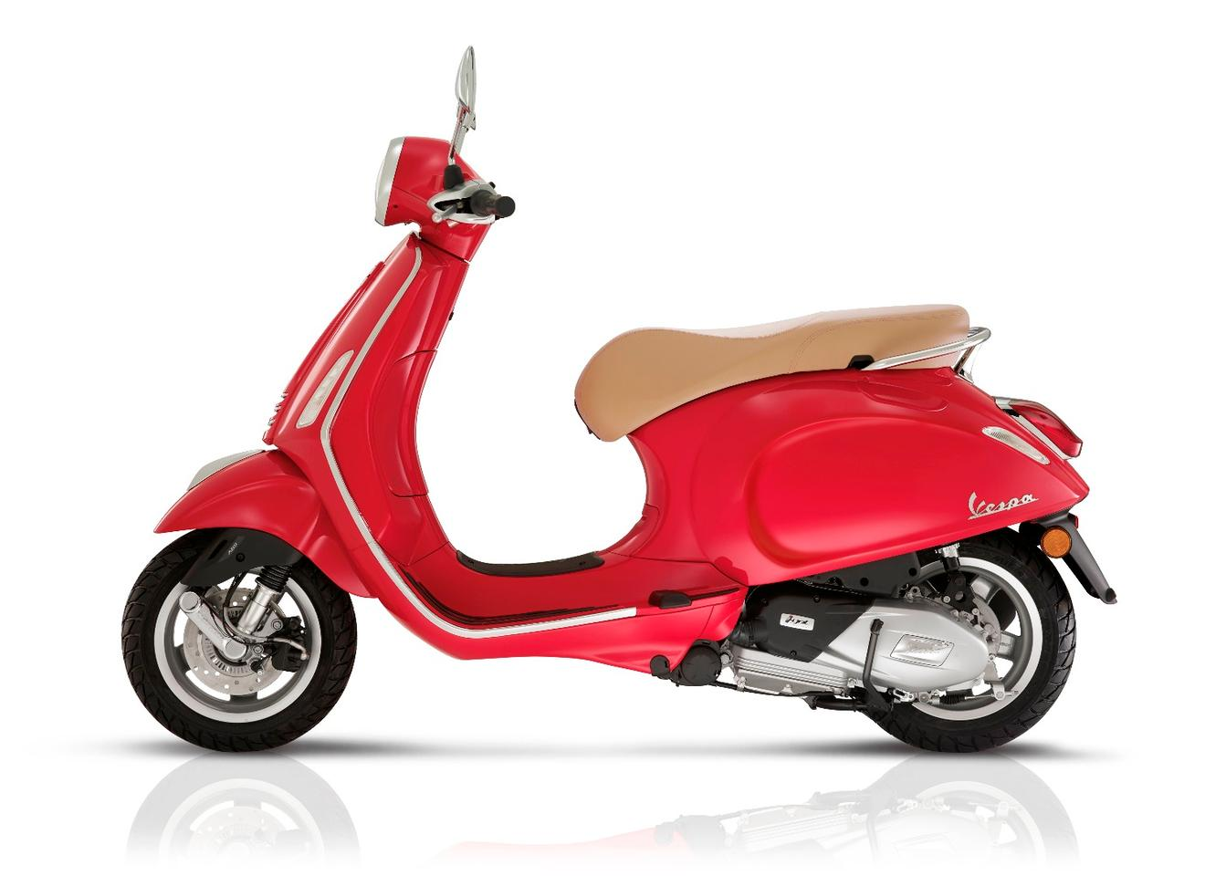 The Vespa Primavera comes in an array of colors with the red evoking the most Italian look available