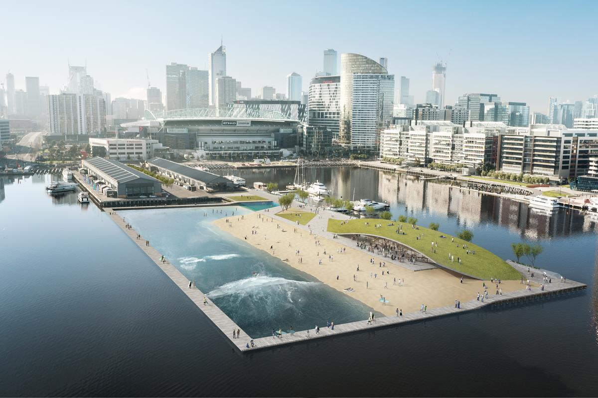 According to engineering firm Arup, the floating surf park will be the first of its kind in Australia (Image: Damian Rogers Architecture, Arup, and Squint/Opera)