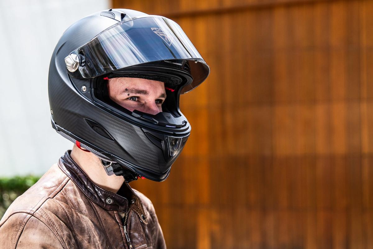 The Forcite smart helmet features a chin-mounted action camera, Bluetooth audio and a performance-tracking sensor suite