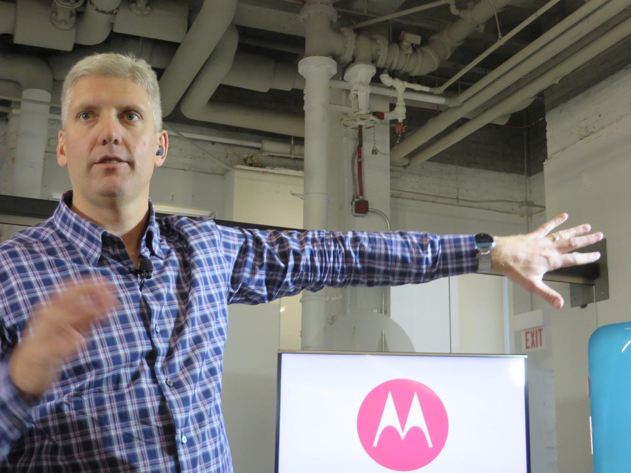 Motorola Mobility President and COO Rick Osterloh shows off a Moto 360