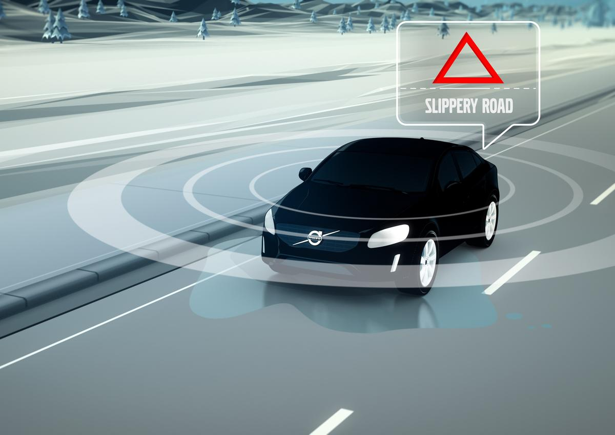 Real-time data about slippery patches on the road is used to warn nearby vehicles nearby