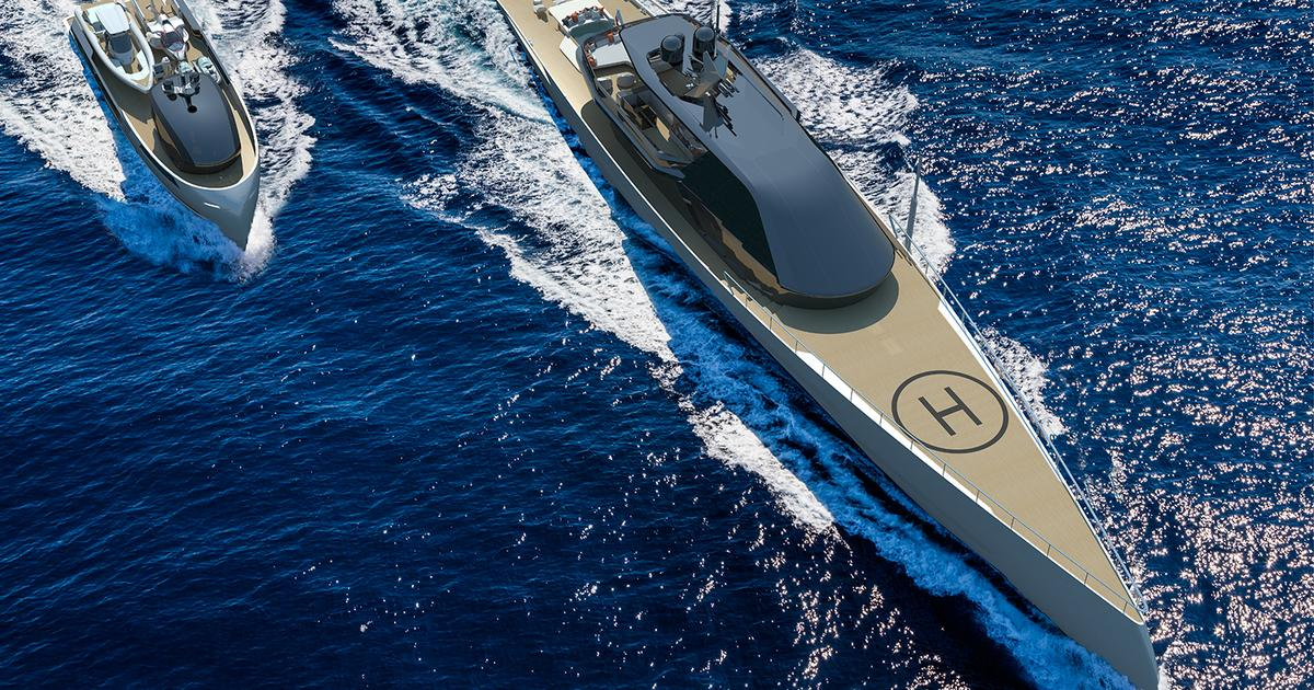 Lithe yacht has diesel-kite hybrid power and toy-hauling support boat