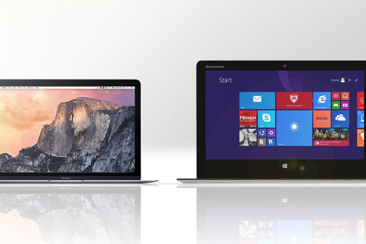 Gizmag compares the features and specs of Apple's new 12-in Retina MacBook (left) and the Lenovo Yoga 3 Pro