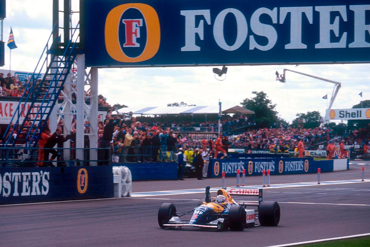 Nigel Mansell takes the win in the1992 British Grand Prix at Silverstoneon 12 July 1992. The car Mansell is driving in this image is not the auction car, but an identical car driven by Ricardo Patrese, which finished second. Mansell took pole position for the race by a whopping 1.9 second margin.